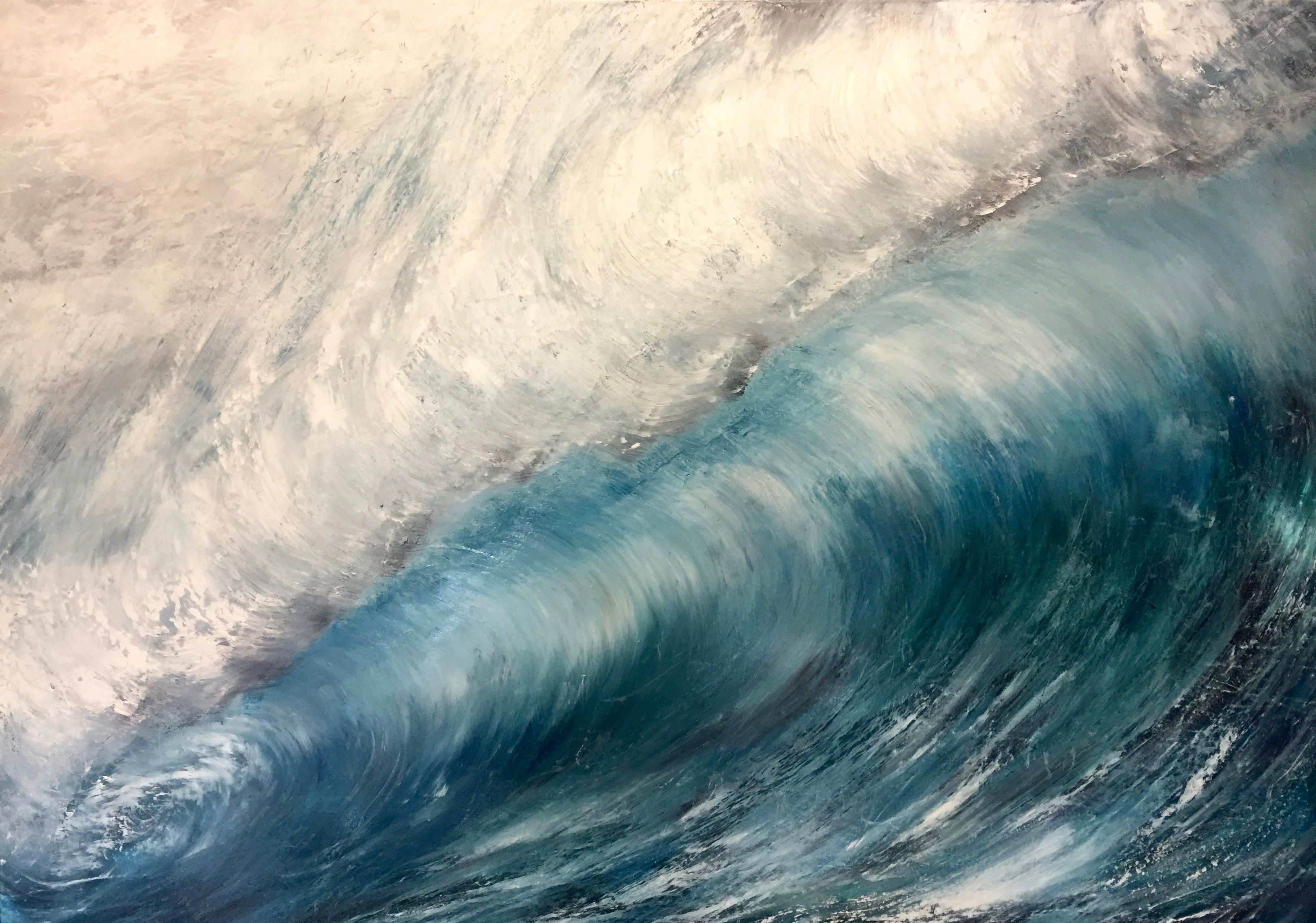 large oil painting of a blue wave, why I rework a painting