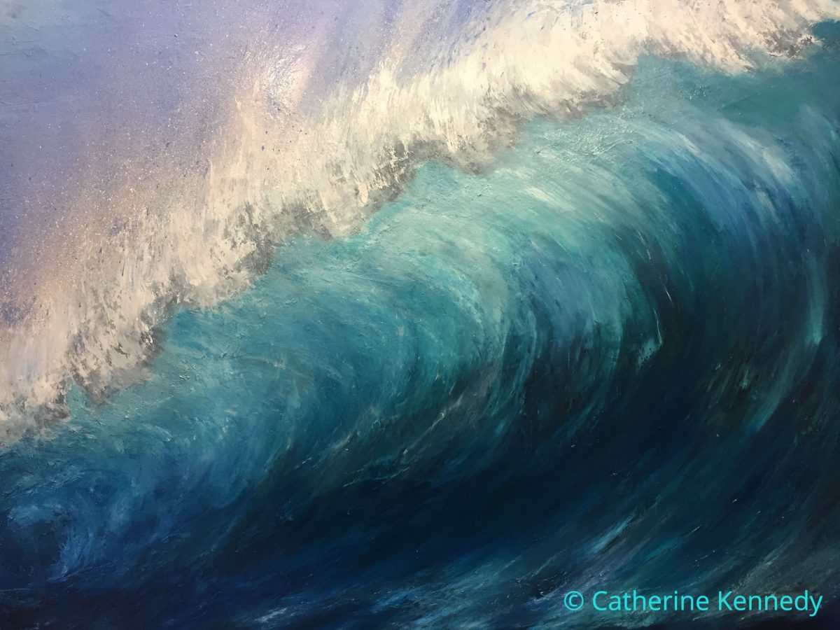 Oil painting of large wave breaking