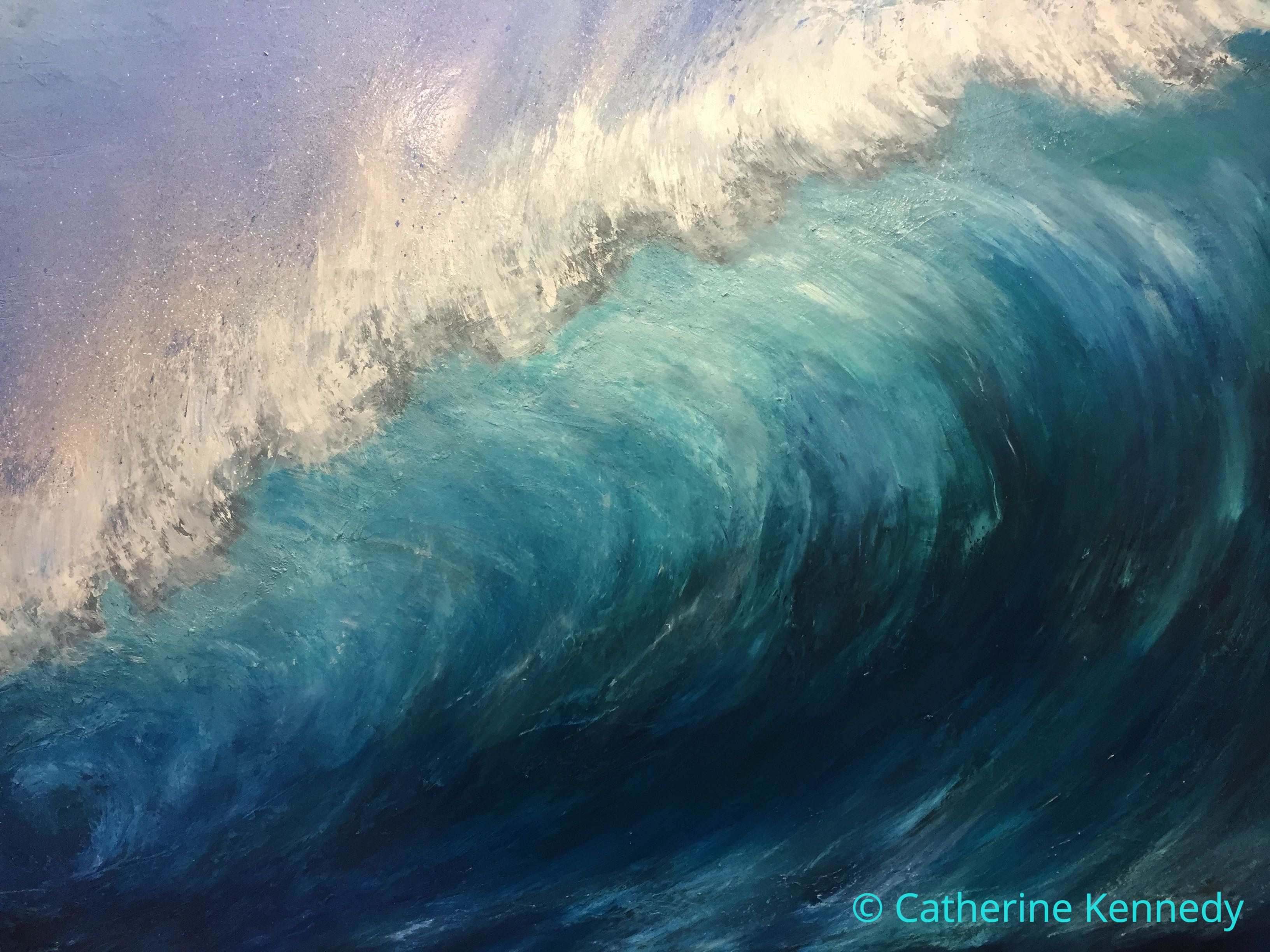"""Wave breaking"" by Catherine Kennedy Original oil on canvas painting measuring: 70 x 100 cm or 27.5 x 39 inches. Large turquoise wave cresting"