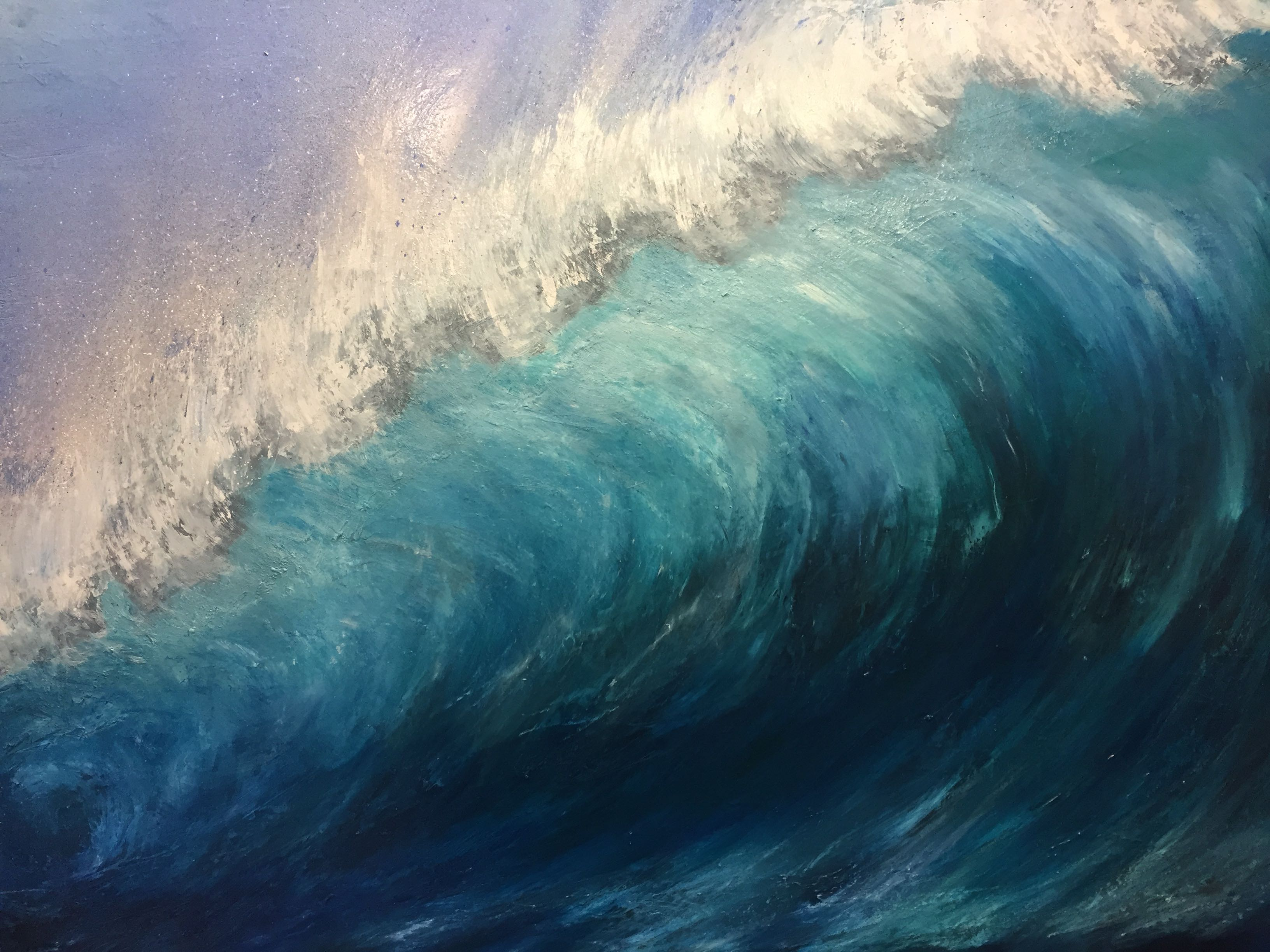 waveart, wave painting, large oil painting of a wave