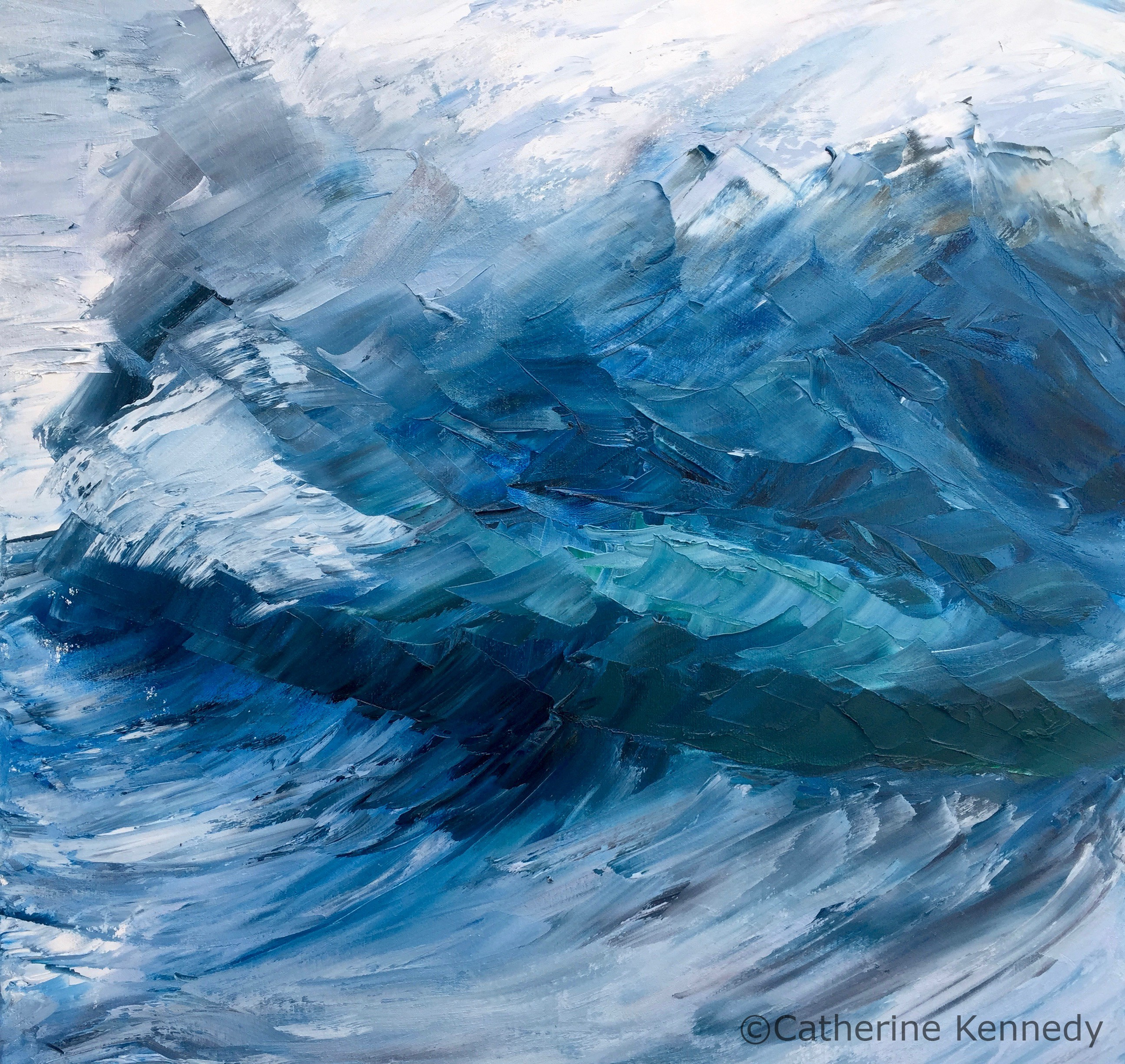 abstract blue wave canvas print
