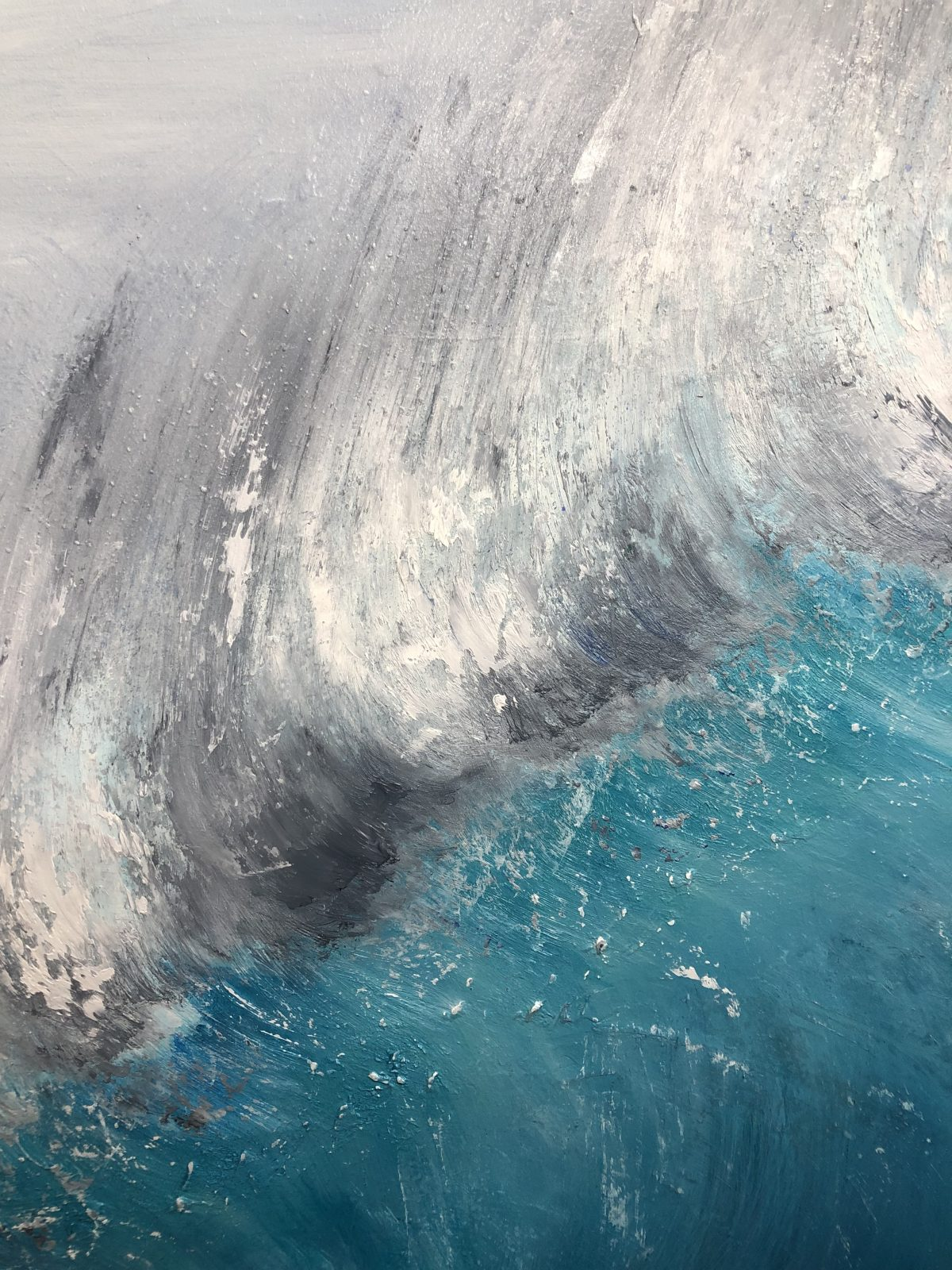 """""""Wave Breaking"""" by Devon based artist Catherine Kennedy. Large Oil on canvas 70 x 100 cm or 27.5 x 39.5 inches. Shows a large turquoise wave breaking. Seascape painting for sale £395"""