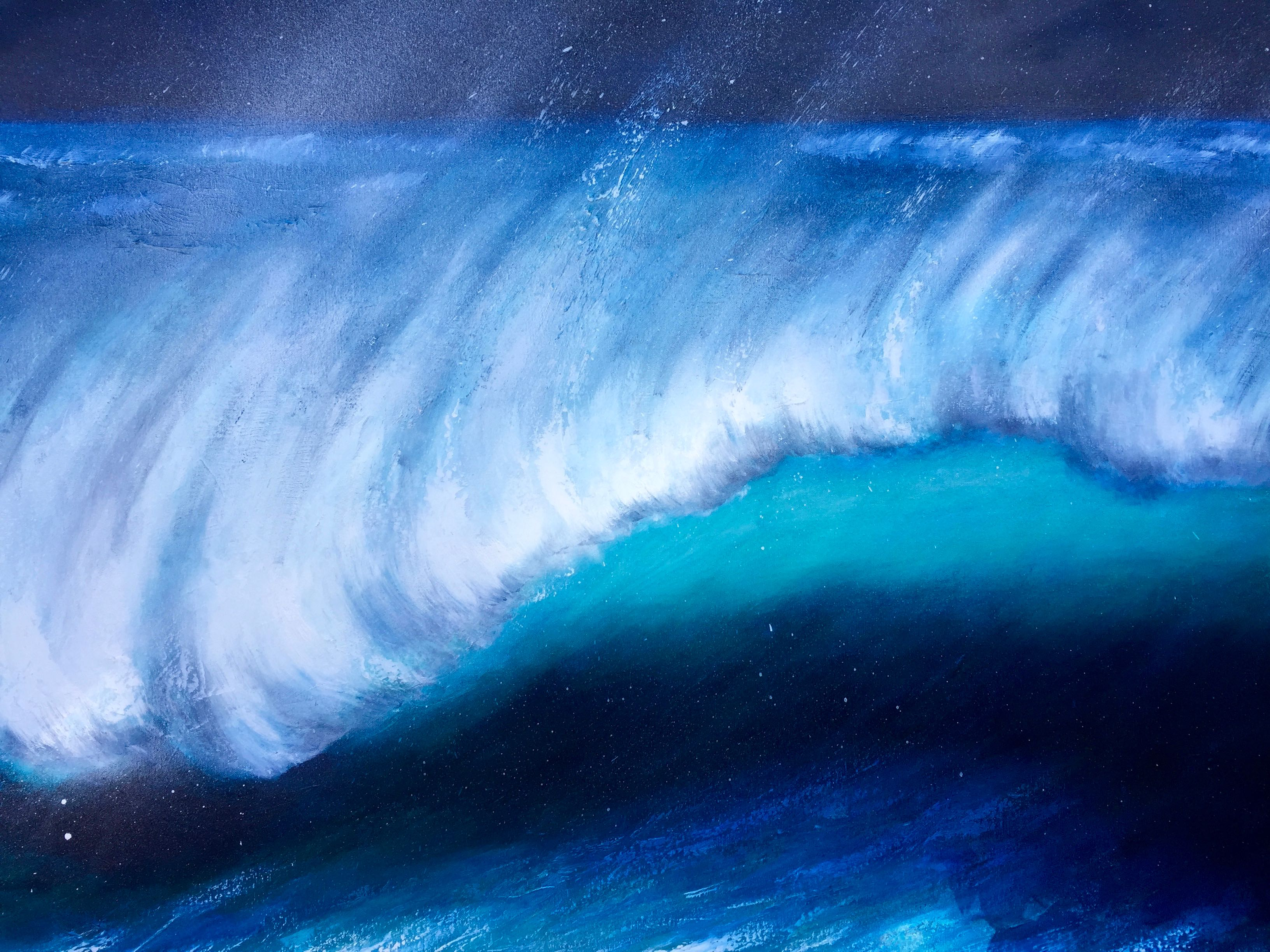 A large oil painting of a turquoise wave illuminated at night