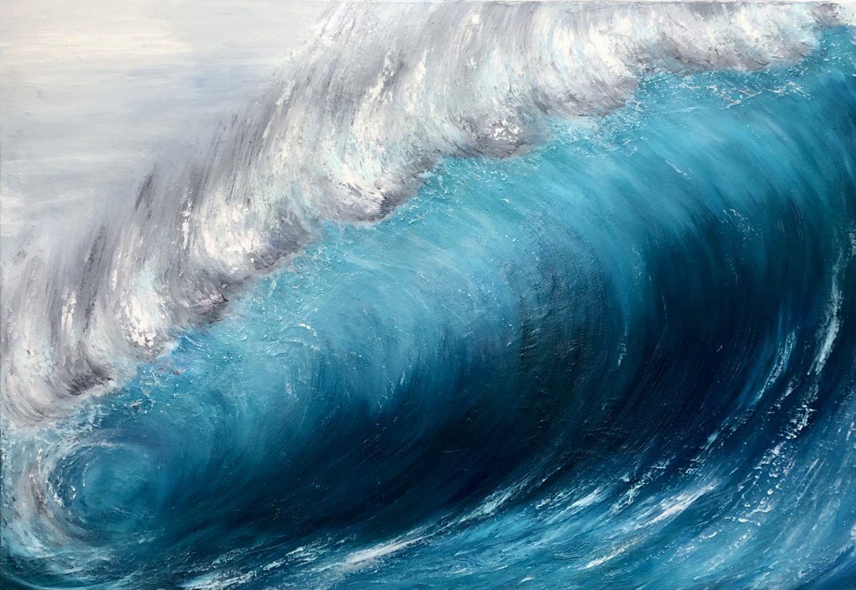 """""""Wave Breaking"""" by Devon based artist Catherine Kennedy. Shows a large turquoise wave breaking. Seascape print for sale giclee print"""