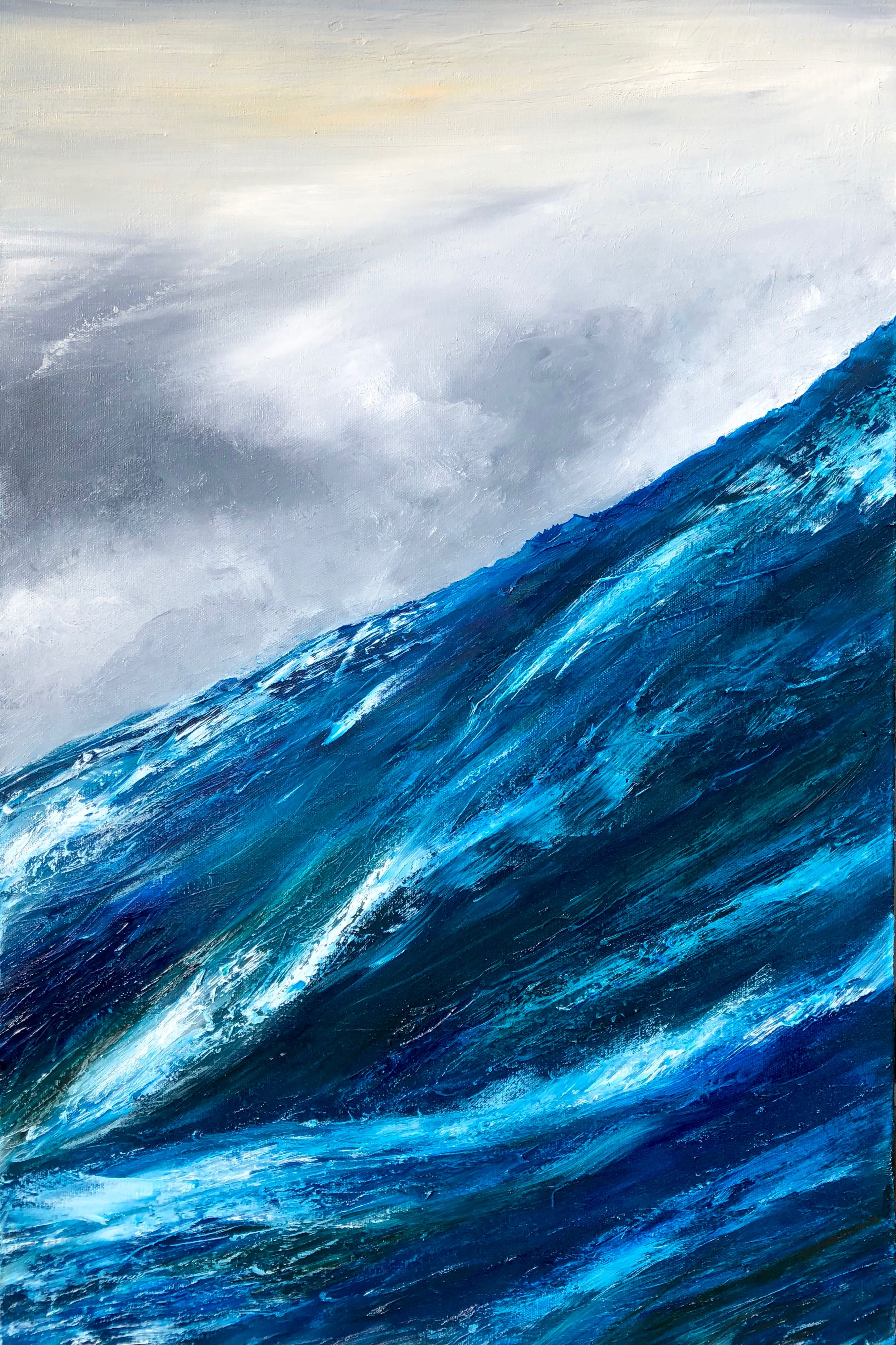 oil on canvas of a blue wave in a stormy sea