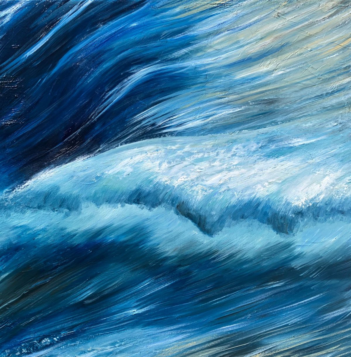 Oil painting of into the blue ocean waves