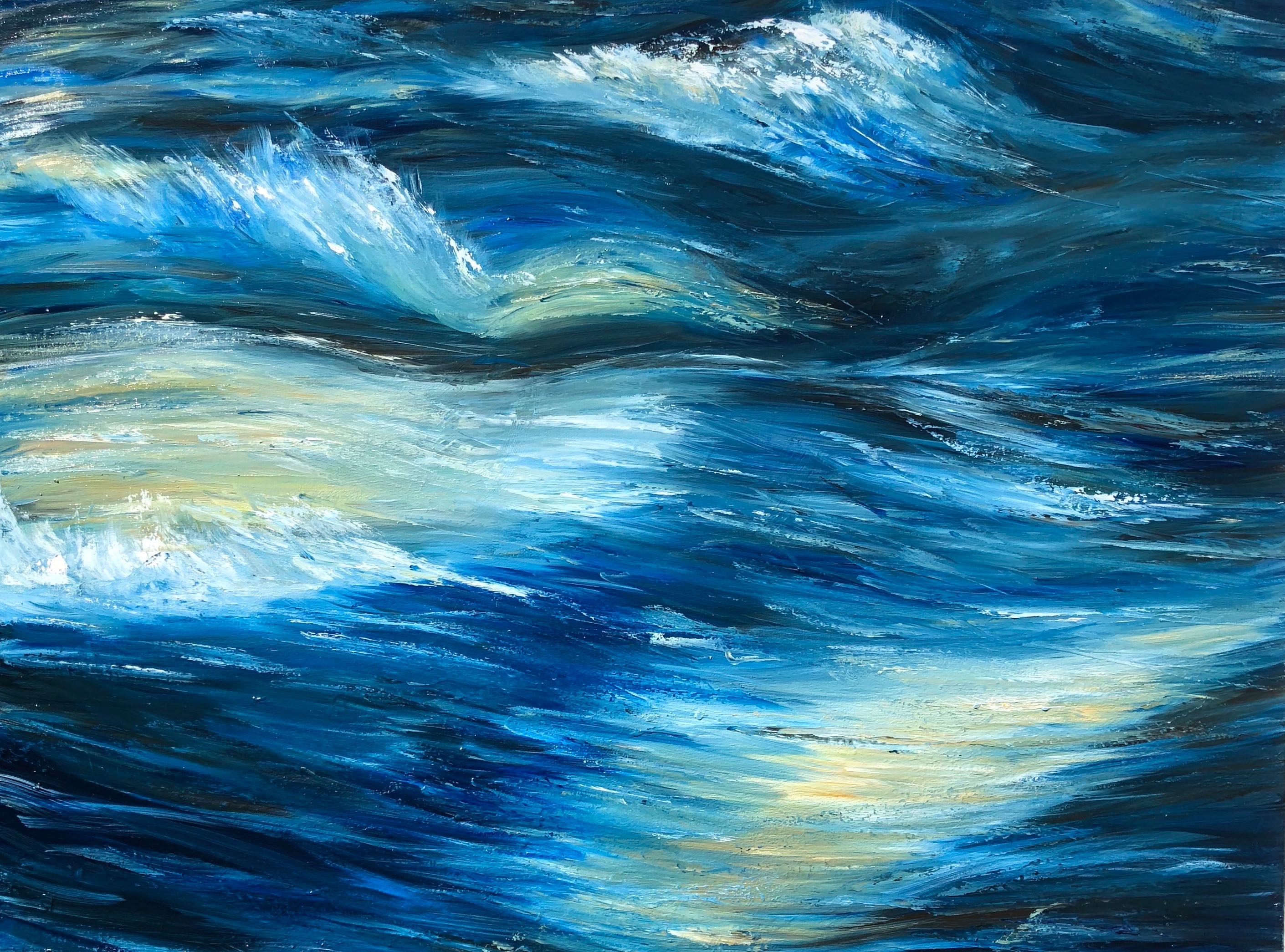 """Rapid water"" Abstract Oil on canvas painting of rapids #artistsupportpledge"
