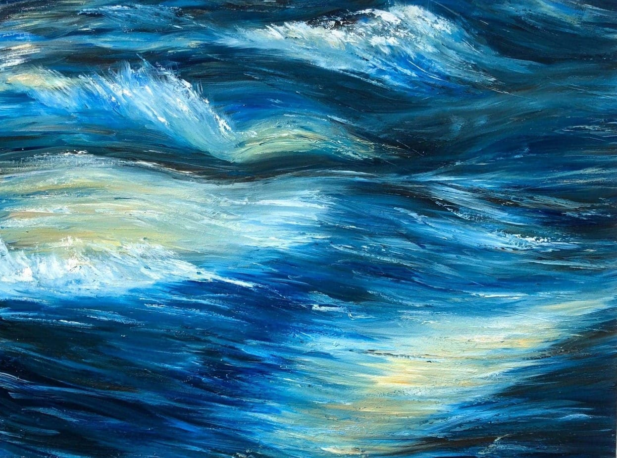 """Rapid water"" original oil painting of blue river on canvas by Devon based artist Catherine Kennedy. For sale. Original oil painting of white water rapids with deep blue water and highlights of yelllow and white water.Original painting of blue water rapids. #artistsupportpledge"
