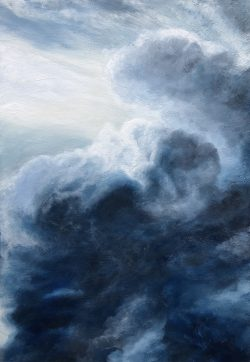 """""""Clouds"""" is an oil painting of dark blue and grey clouds lit by the sun with a white sky with light purple and pale grey highlights"""