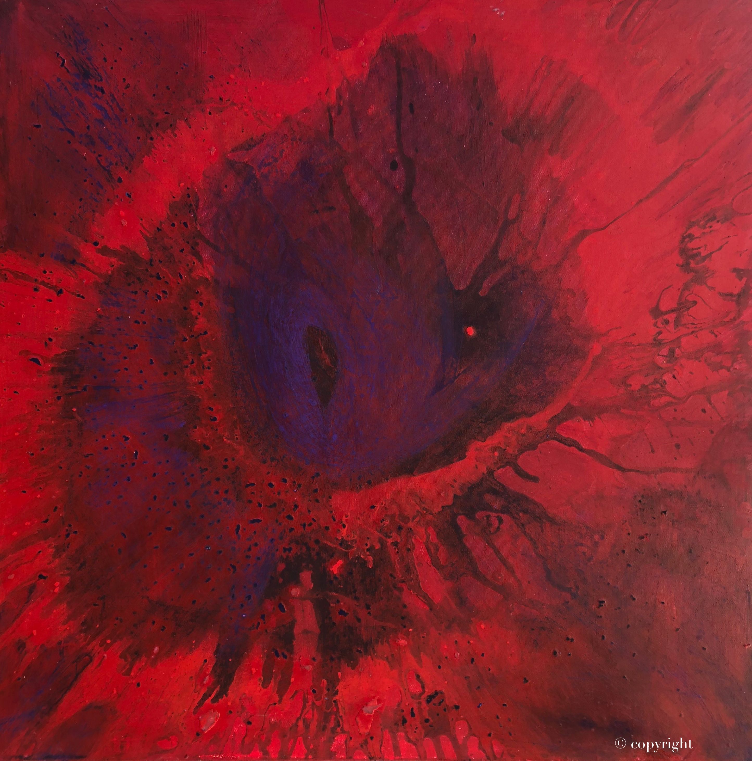 Red Giant is an original acrylic on canvas spin painting