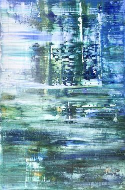 Abstract Blue & Green Light. This is an original acrylic on canvas by Width 51cm Height 76cm or 20ins x 30ins. Unframed. Signed. Comes with a certificate of authenticity
