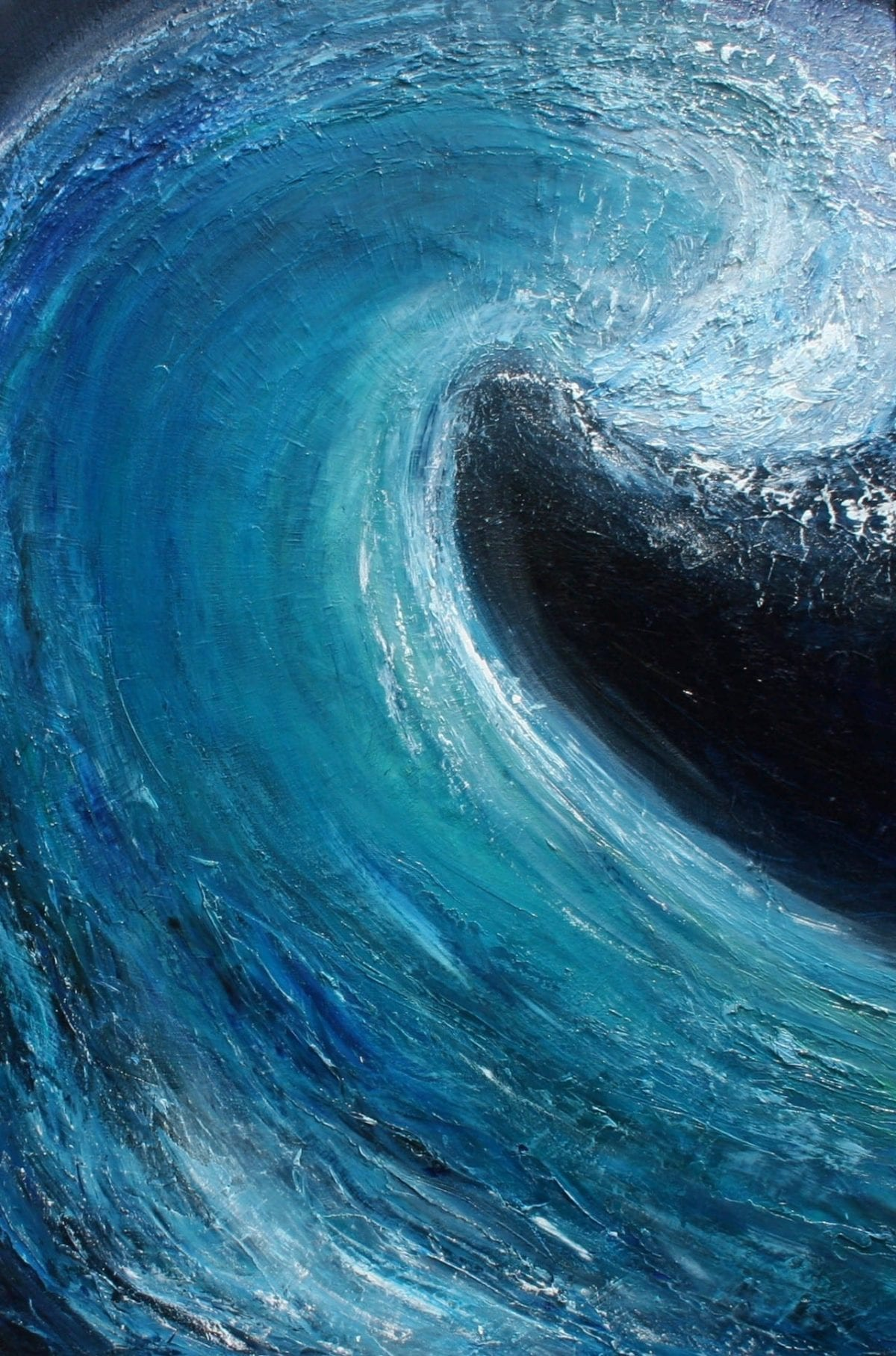 """Into the blue II"" abstract turquoise wave oil painting on canvas. Width 61 cm Height 91cm or width 24ins x height 36 inches, canvas depth 4cm or 1.5ins for sale £350. Framed, signed by Devon based artist Catherine Kennedy"