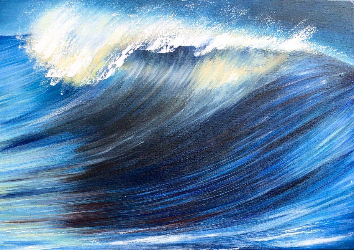 """""""Indigo Blue Wave"""" abstract turquoise wave oil painting on canvas. signed by Devon based artist Catherine Kennedy. Oil on canvas painting of a wave 70 x 50cm"""