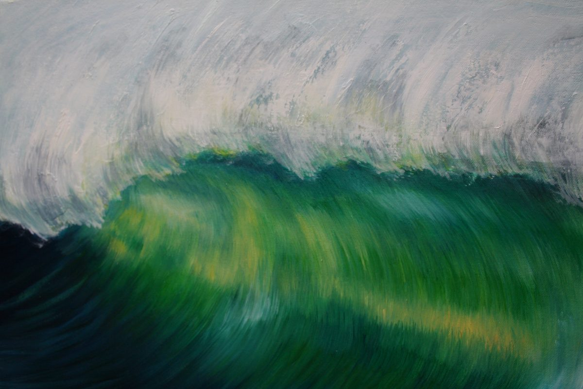 """""""Emerald Wave II"""" original oil on canvas emerald wave crashing, from an original painting by Devon based artist Catherine Kennedy"""