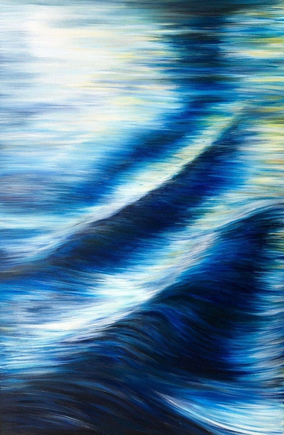 """""""Languid River"""" is an original oil on canvas painting of ripples in a slow flowing river current 60 x 80 cm £350 by Devon based artist Catherine Kennedy. Blues, white and yellows are the predominant colours."""