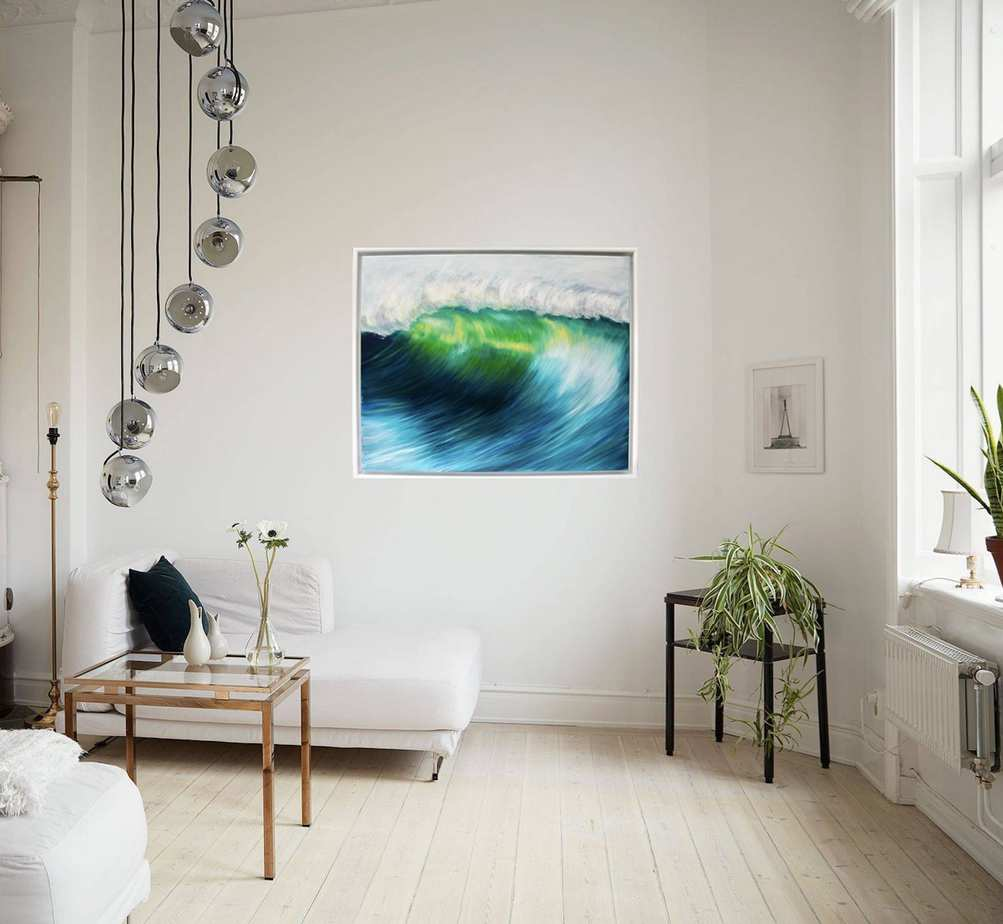 Emerald Wave oil painting on canvas of an emerald green wave in room setting