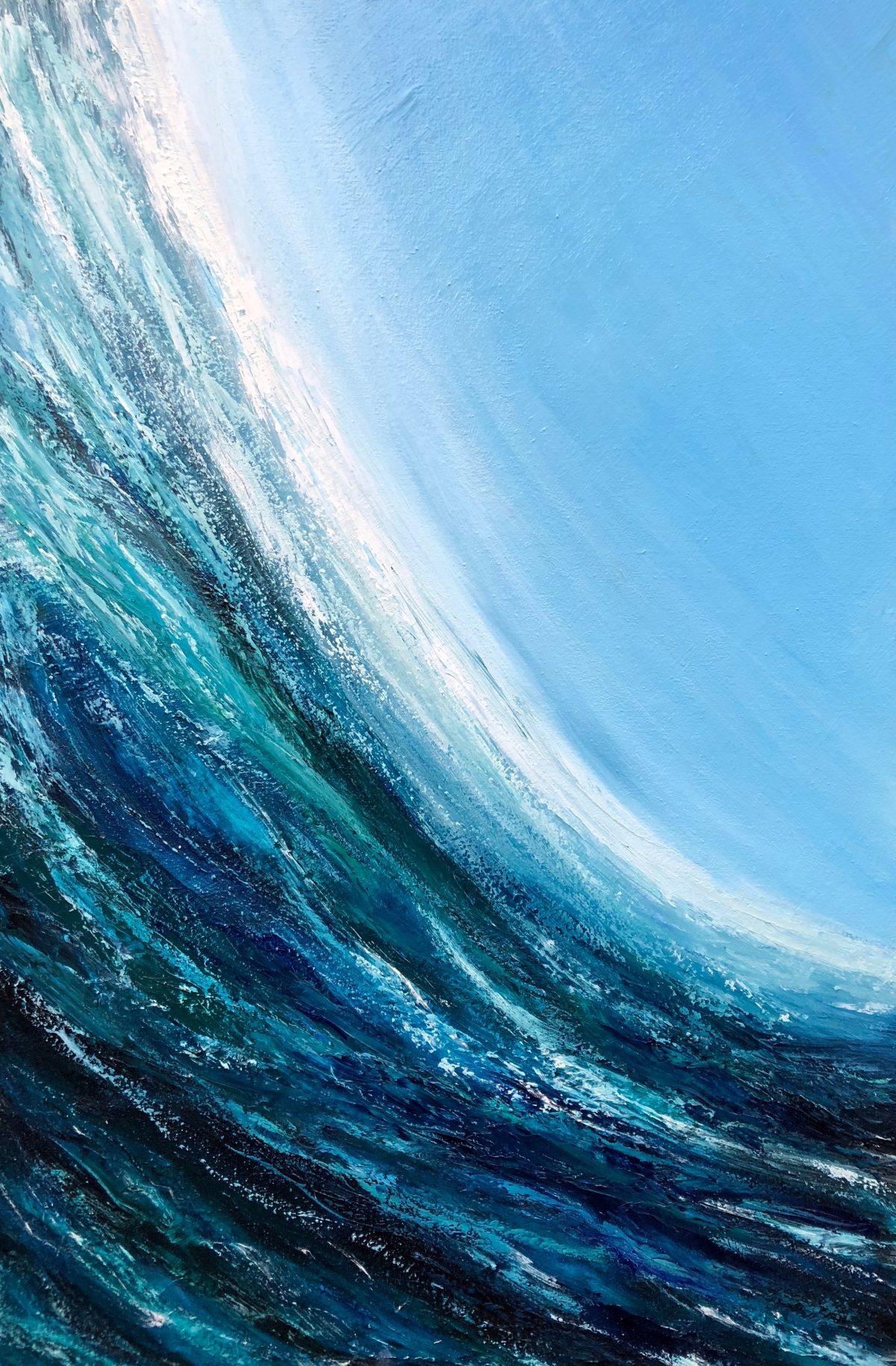 oil painting of turquoise surf