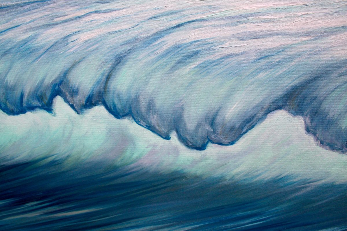 """""""Into the Blue Ocean Waves II"""" Oil on canvas painting measuring 100 x 70cm £395 abstract seascape painting of a wave lit by the sun creating a light emerald green light under the cresting wave with yellow and white highlights and deep indigo blue shadows. By Devon based artist Catherine Kennedy."""