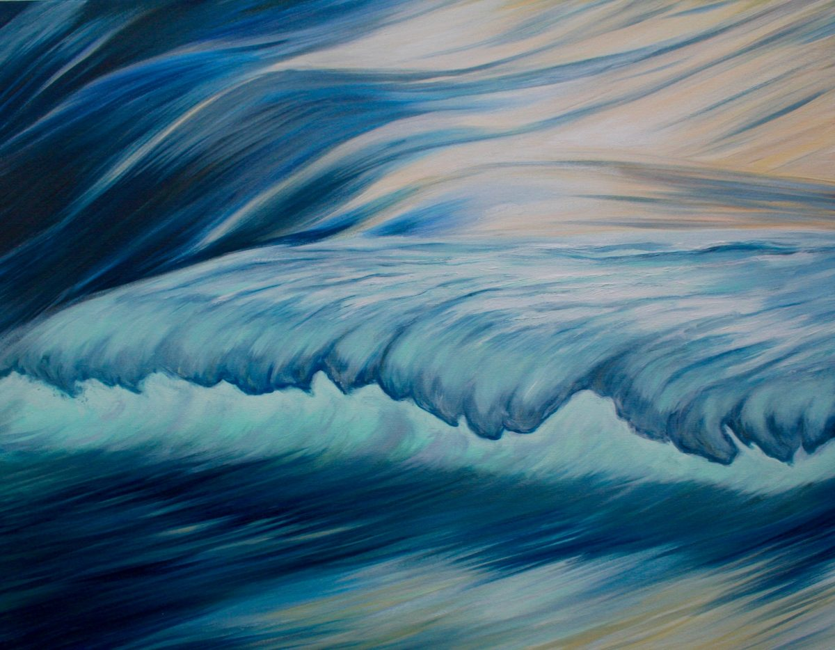 seascape painting of a wave lit up by the sun