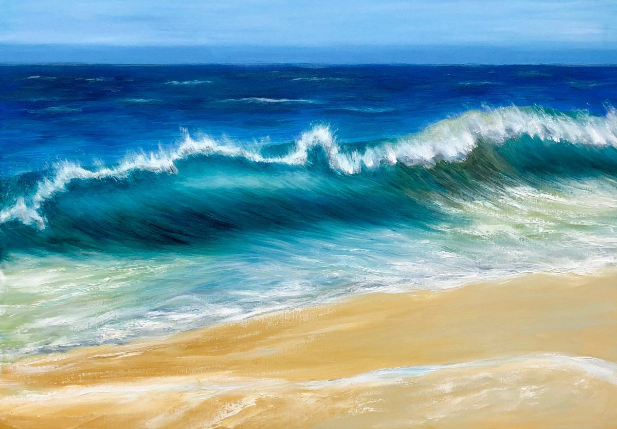 giclee print Oil on canvas of a turquoise wave crashing onto a sandy beach