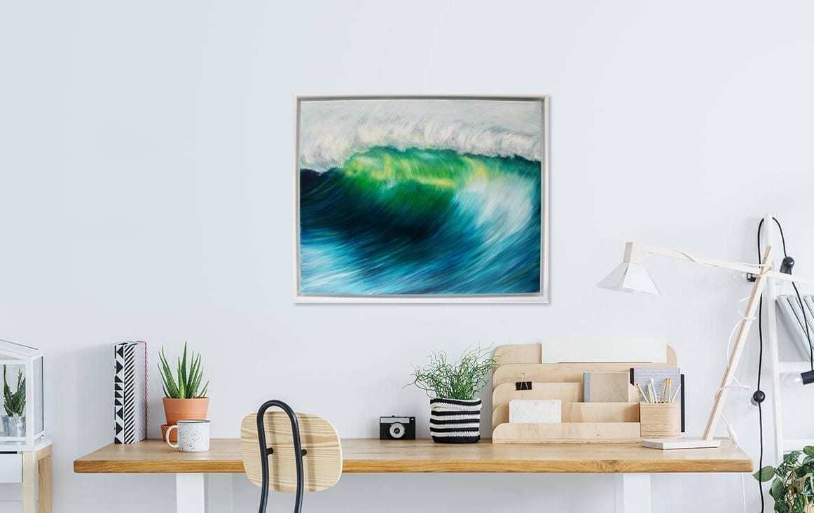 """""""Emerald wave"""" Giclee fine art print. Shows a large emerald green wave cresting giclee print from an original oil painting by Devon based artist Catherine Kennedy"""