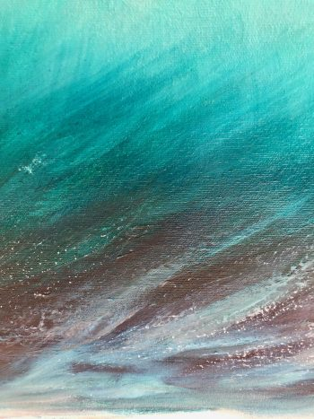 """Whitecap Wave III"" original Oil on canvas painting measuring 80 x 80 cm £395 for sale. Showing a turquoise wave breaking. By Devon based artist Catherine Kennedy"