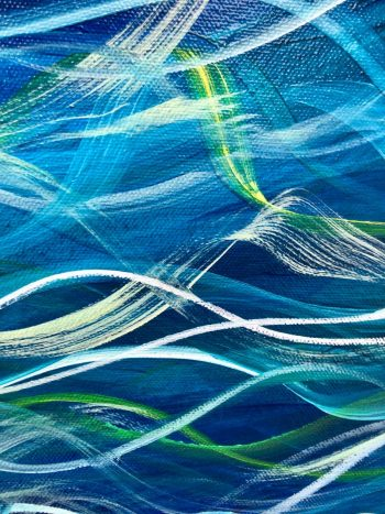 """""""Turquoise Sea III"""" by Devon based artist Catherine Kennedy Original Oil on canvas turquoise seascape painting 70 x 100cm £395front detail"""