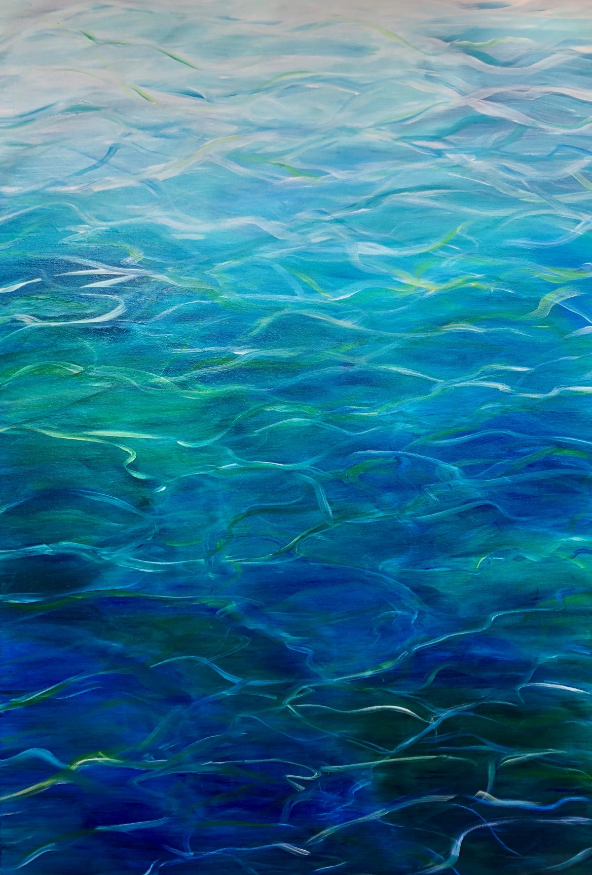 oil painting of turquoise water with ripples of blue, green and white