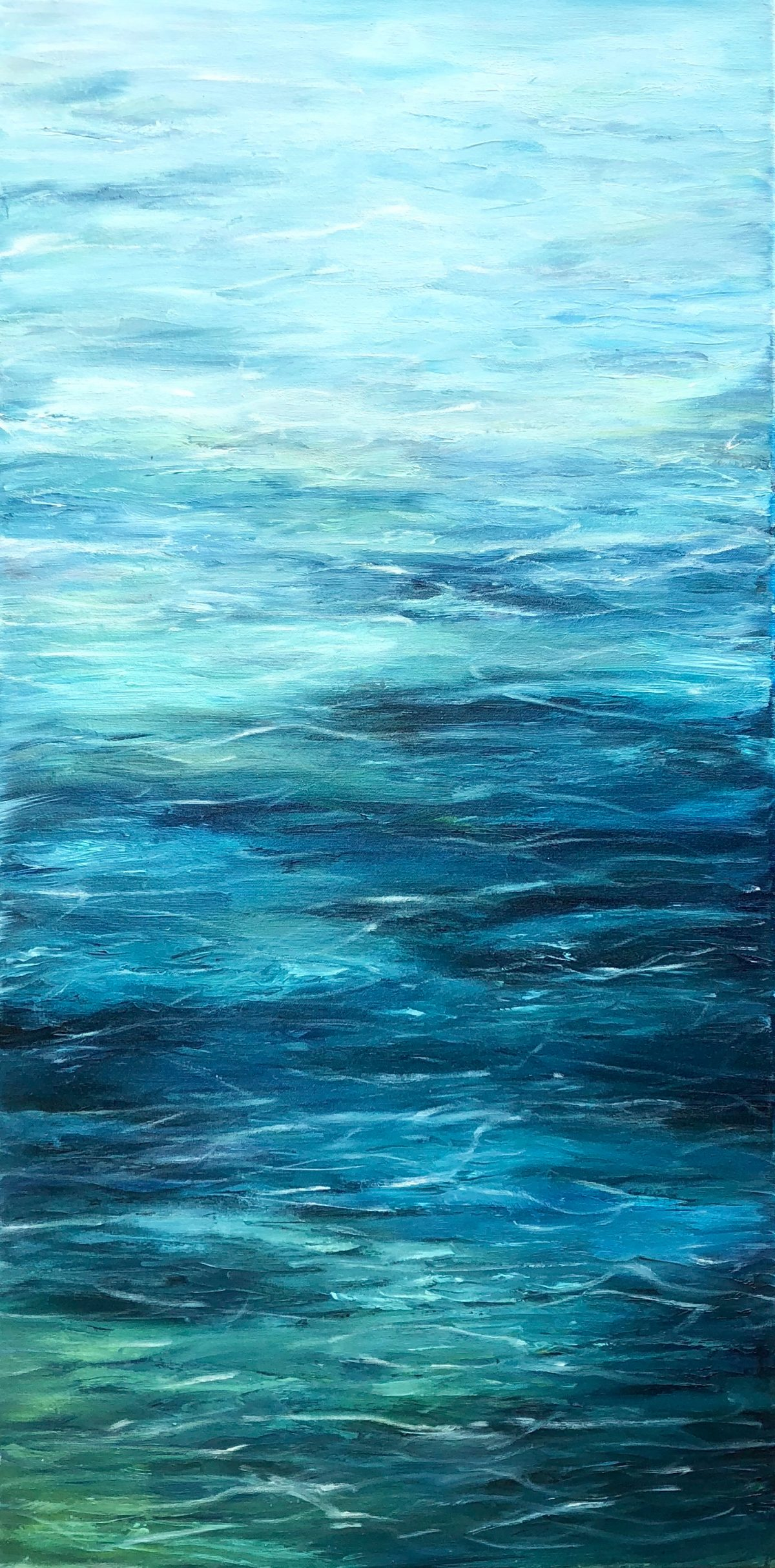 """""""Turquoise sea"""" by Devon based artist Catherine Kennedy. Oil on canvas painting measuring: 50 x 100cm of shallow water with blues, turquoise, green and indigo ripples. The first the series of """"Tranquil"""" paintings."""