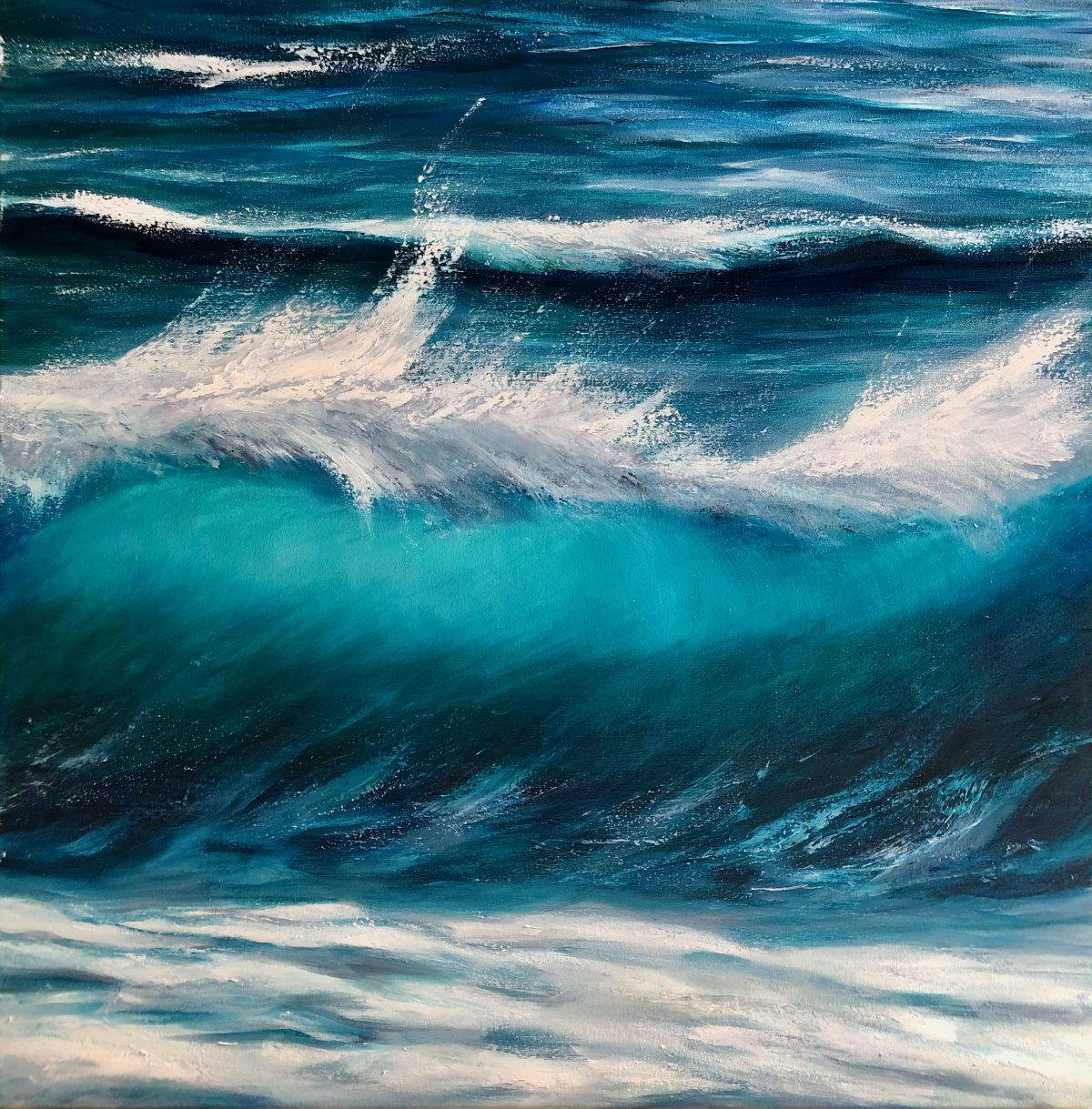"""Whitecap Wave III"" original Oil on canvas painting measuring 80 x 80 cm £395 for sale. Showing a turquoise wave breaking. By Devon based artist Catherine Kenne"