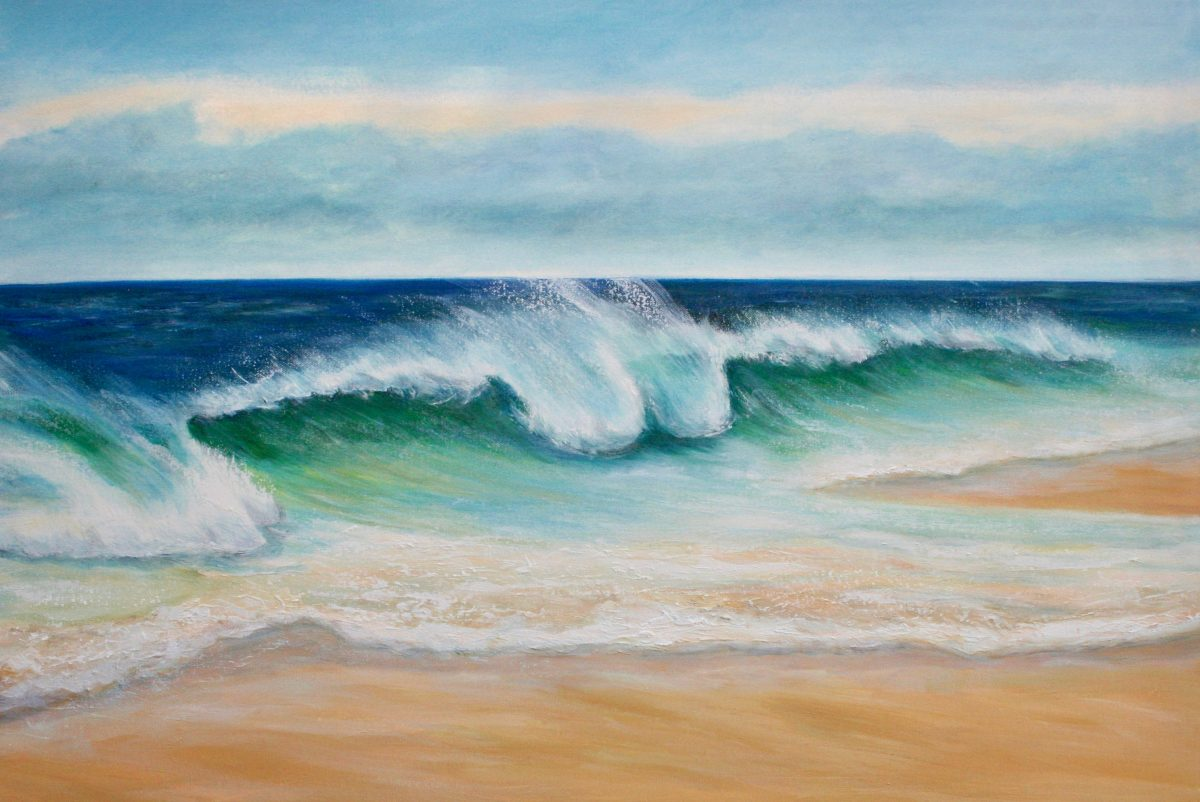 Emerald beach oil on canvas showing an emerald wave cresting on a sandy beach