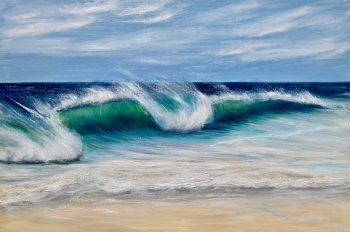 """""""Emerald Sea"""" oil on canvas painting of large wave cresting onto a sandy beach."""