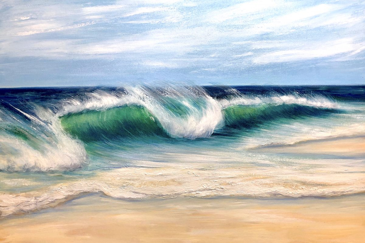 """Emerald Beach"" original seascape painting on canvas. One of the wave seas series of paintings by Devon based artist Catherine Kennedy."
