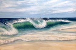 """Emerald beach"" is an original oil on canvas painting measuring. Shows a large emerald green wave crashing onto a sandy beach with a blue sky in the background. Tropical seascape painting for sale."