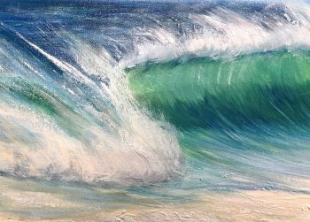 """""""Emerald beach"""" is an original oil on canvas painting measuring. Shows a large emerald green wave crashing onto a sandy beach with a blue sky in the background. Tropical seascape painting for sale."""