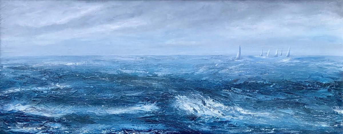 """Chasing the leader"" oil on canvas seascape painting by Devon based artist Catherine Kennedy showing yachts in a race on a blustery day with blue and white waves and white sails"