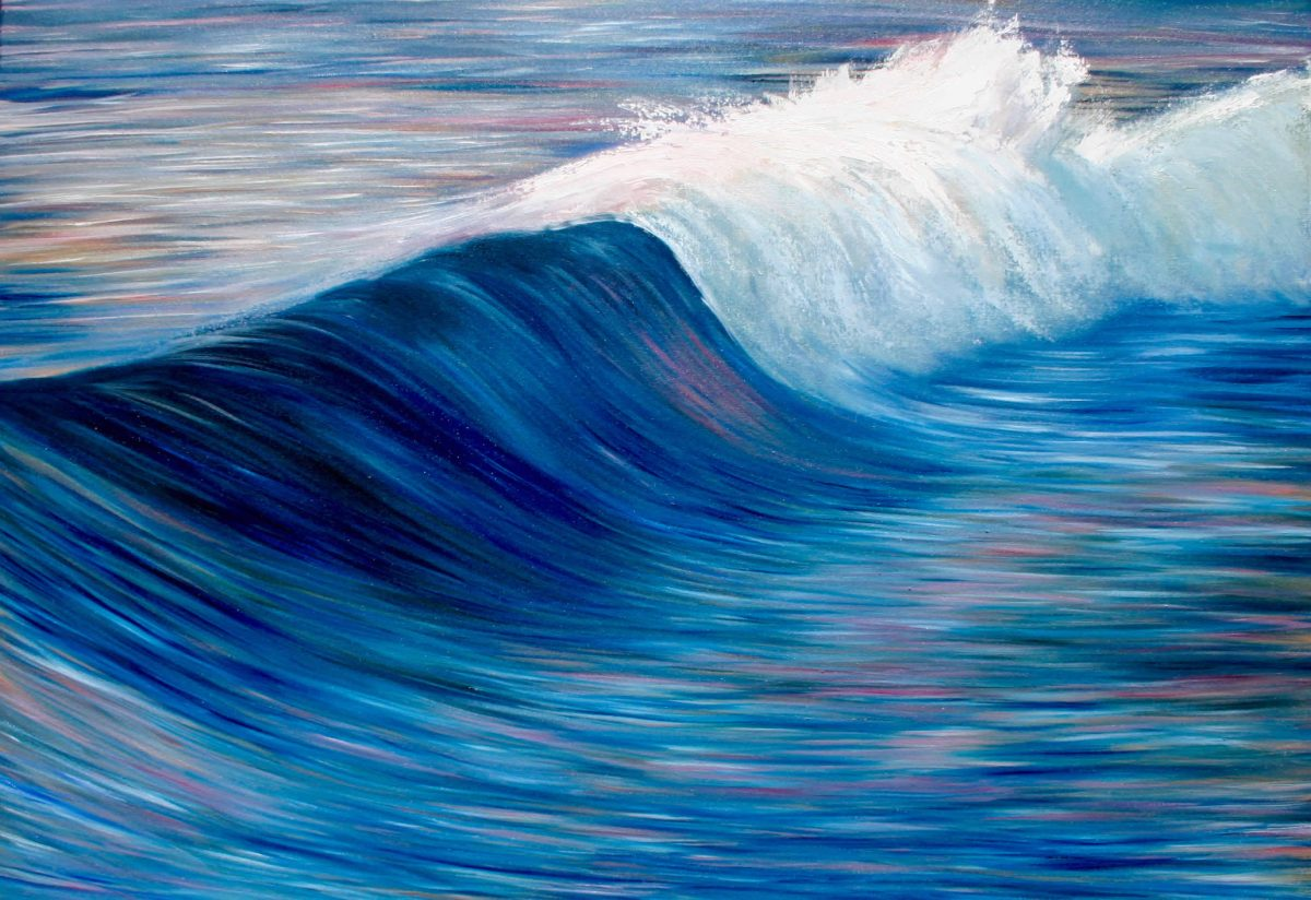 evening tide giclee print of a wave breaking with blues pinks white orange