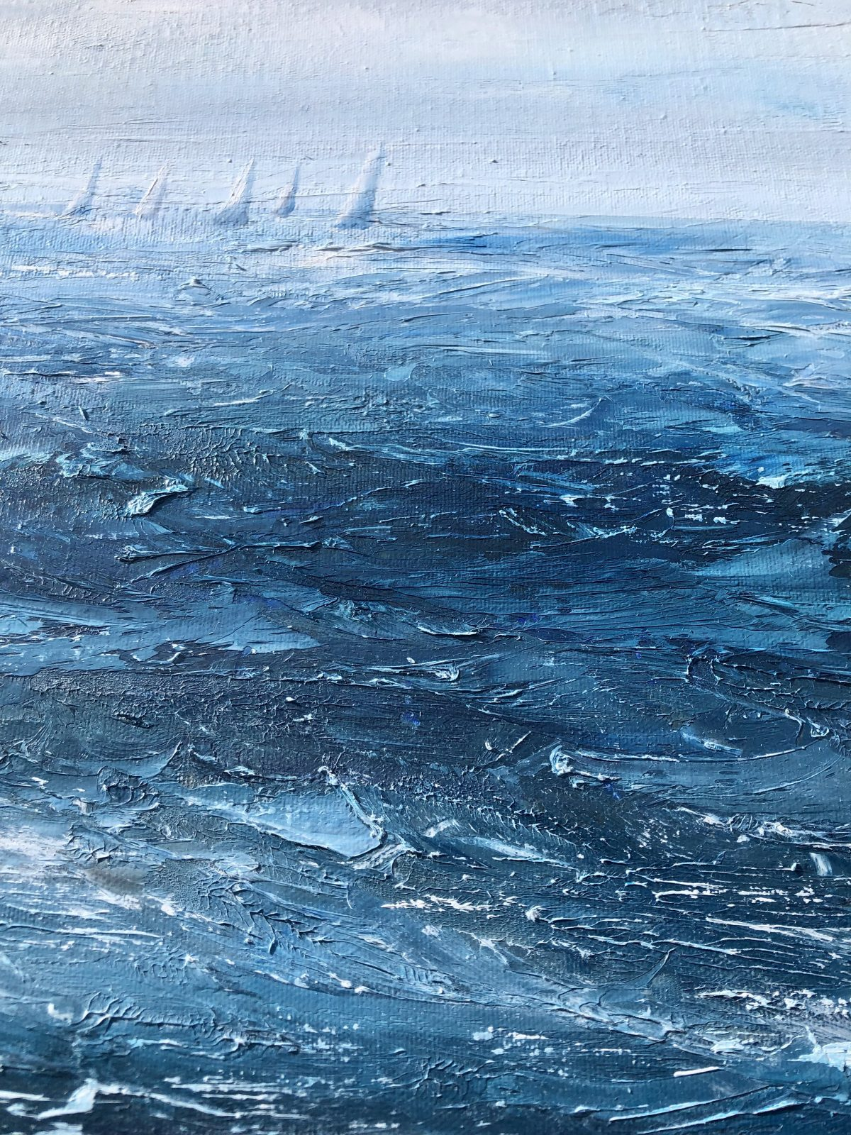 """""""Chasing the leader"""" oil on canvas seascape painting by Devon based artist Catherine Kennedy showing yachts in a race on a blustery day with blue and white waves and white sails"""