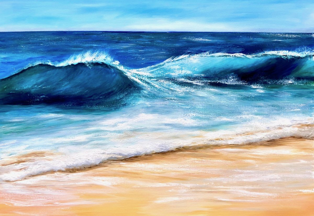 """""""Turquoise seascape"""" oil on canvas seascape painting 100 x 70cm for sale £395 by Devon based artist Catherine Kennedy"""