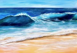 """Turquoise seascape"" oil on canvas seascape painting 100 x 70cm for sale £395 by Devon based artist Catherine Kennedy"
