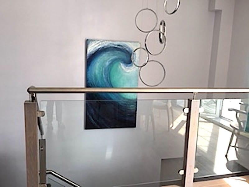 """""""Into the blue"""" large wave painting commission in situ in the stairwell of the customers new home"""