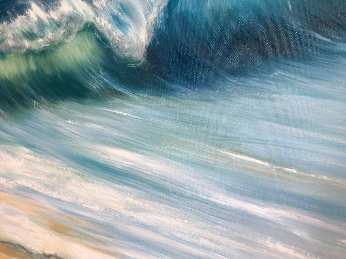 """""""Ocean beach"""" is an original oil on canvas painting measuring 100 x 70cm price at £395. Shows a large turquoise wave crashing onto a sandy beach with a blue sky in the background. Tropical seascape painting."""