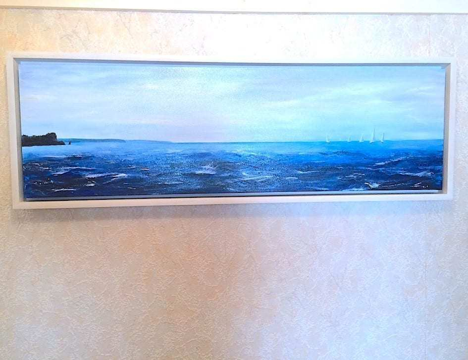 "Commissioned seascape painting of ""The Parson and Clerk"" rock formation just outside Teignmouth. The photo shows the painting in situ in Colin's dining room"