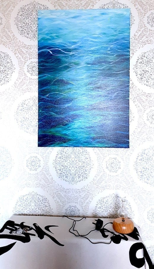 Large abstract Turquoise Sea painting. Picture shows the painting in the customers meditation space.