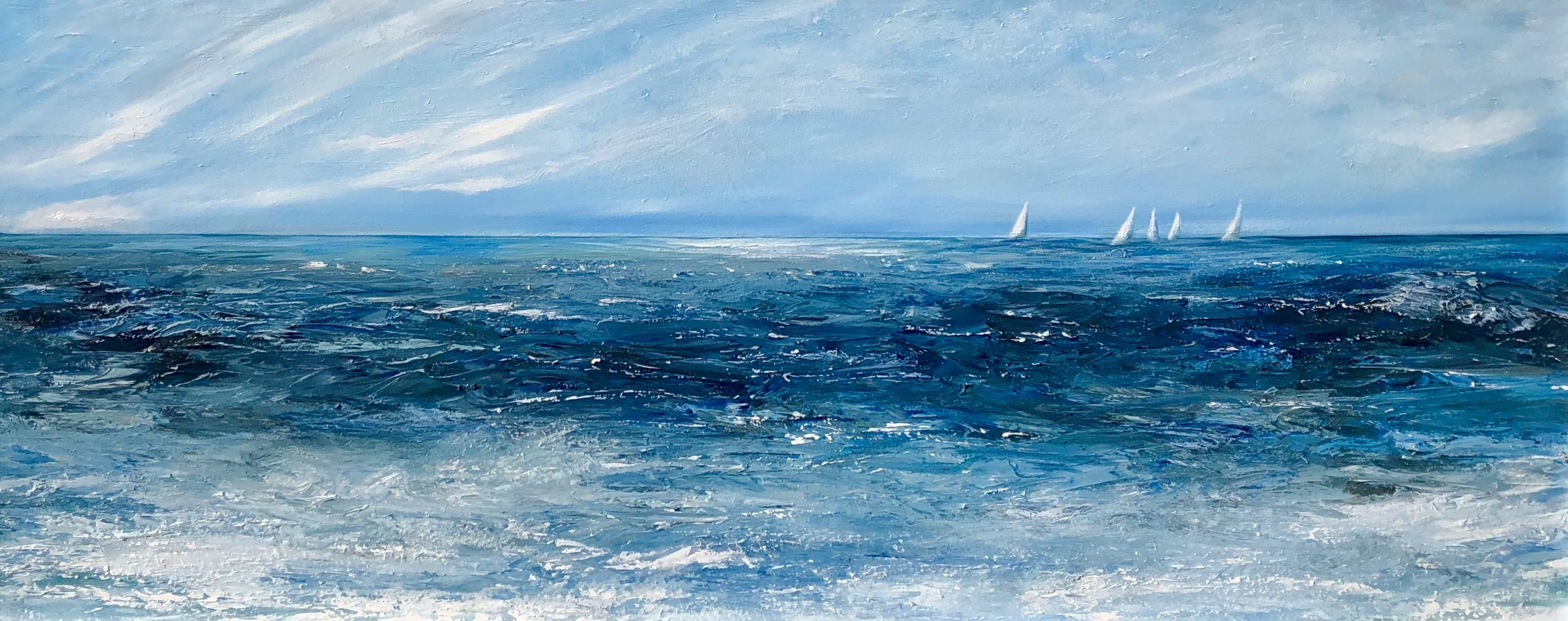 """Racing off the coast"" oil painting on canvas. The customer had been looking for the perfect painting for her living room."