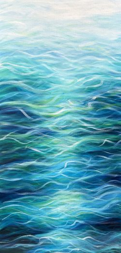 Emerald Sea II V2 front oil on canvas painting 100 x 50 cm £350