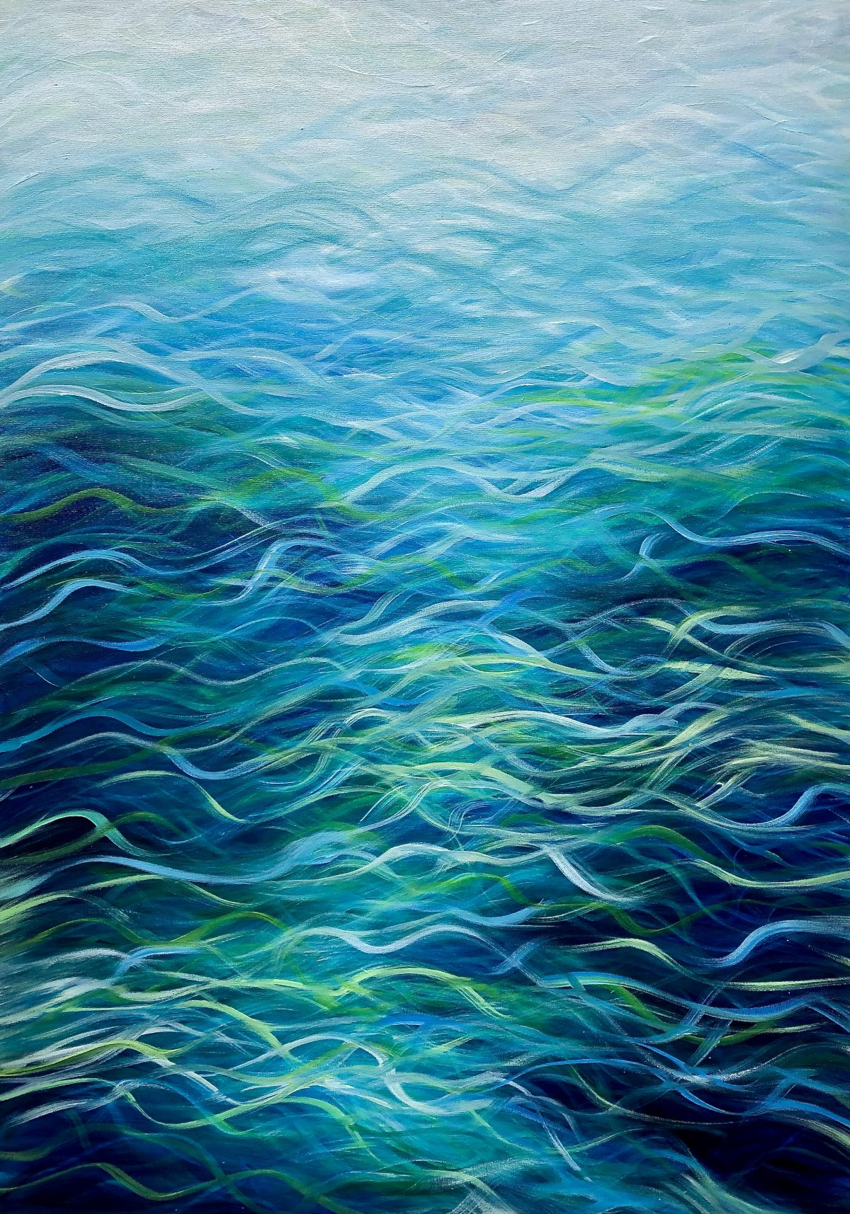 """Emerald Sea IV"" oil on canvas painting blues emerald green abstract tropical seas. Measures 70 x 100 cm £395. Available at catherinekennedy.co.uk. Positive energy painting."