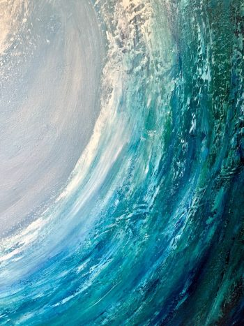 Emerald Surf II detail oil on canvas painting of a large green wave cresting measuring 60 x 90 cm £350