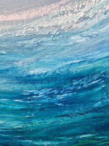 Emerald Surf II is an oil on canvas painting measuring 60 x 90 cm £350 of a green surfing wave