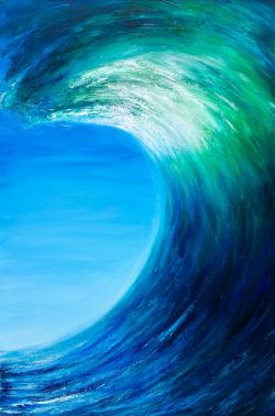 Emerald Surf giclee print taken from an original abstract oil on canvas painting of a surfing wave with blues turquoise and emerald green colours